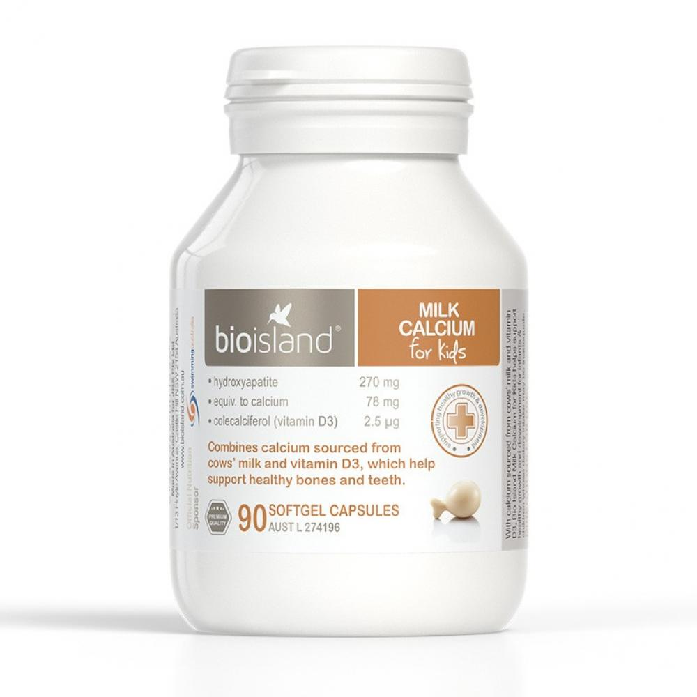 Bioisland婴幼儿天然乳钙/液体钙90粒 专为宝宝设计 促进发育容易吸收 Bioisland Milk Calcium 90s