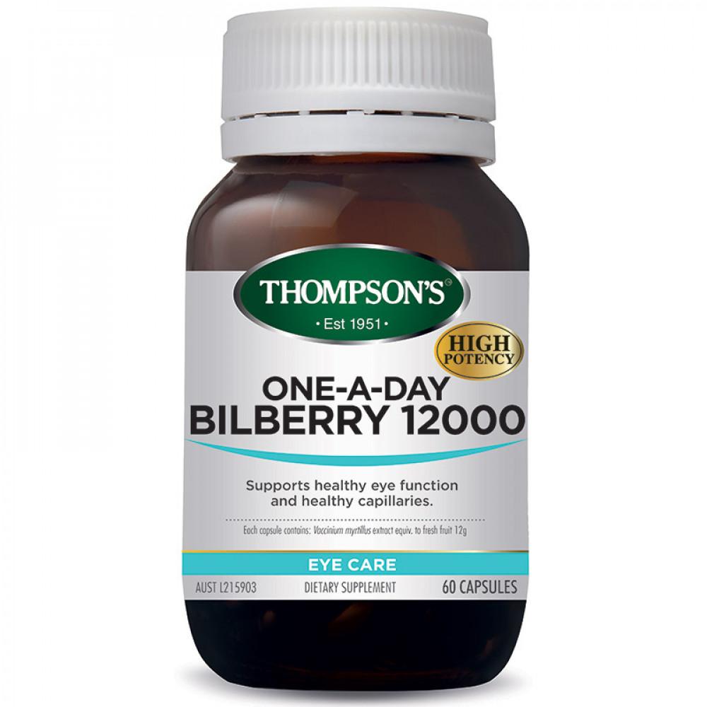 汤普森 越橘蓝莓护眼精华60粒 高含量保护视力 新西兰经典产品 Thompson's Bilberry 12000 60s