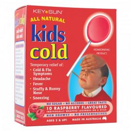 All Natural儿童感冒退烧棒棒糖 2岁以上适用 覆盆子味10支装 Kids Cold Raspberry Flavoured 10s