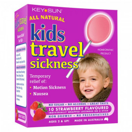 All Natural儿童晕车棒棒糖 2岁以上适用 草莓味10支装 Kids Travel Sickness Strawberry Flavoured 10s