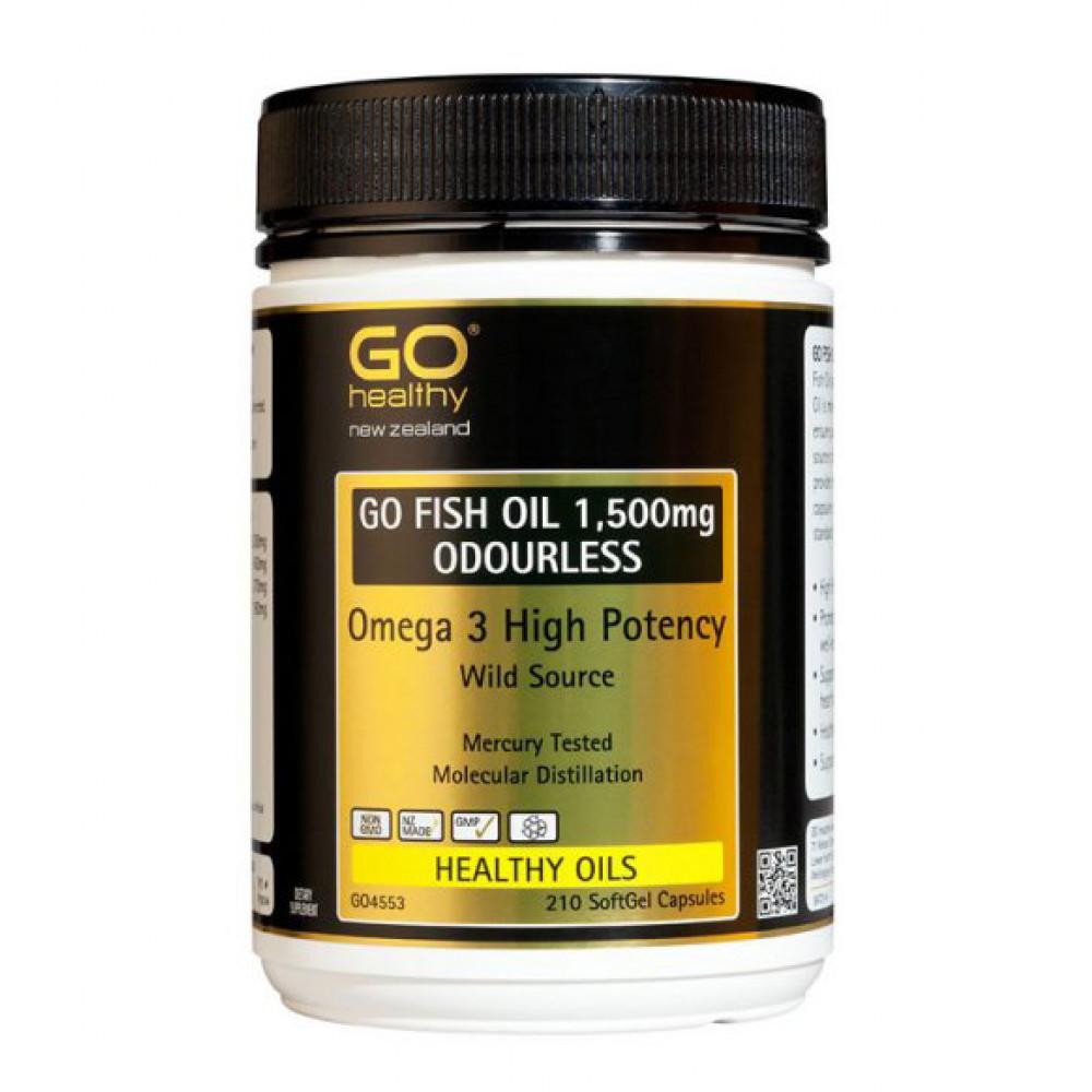 Go Healthy深海鱼油1500毫克210粒 高含量 健脑护心降三脂 GO FISH OIL 1500mg ODOURLESS 210s