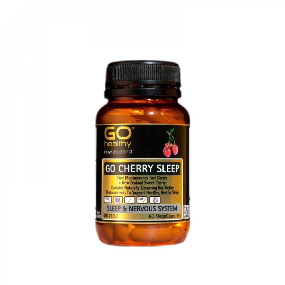 GO Healthy 樱桃精华安睡胶囊60粒 宁神安眠 舒缓精神紧张 GO Cherry Sleep 60s