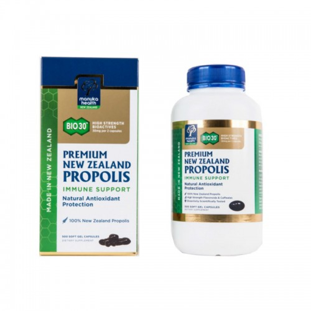 Manuka Health蜜纽康 BIO30蜂胶胶囊 500粒 增强体质降血糖防肿瘤 BIO30 Premium New Zealand Propolis 500s