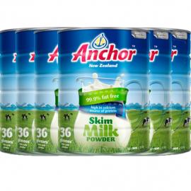 Anchor安佳罐装脱脂奶粉900g/罐 六罐包邮税 新西兰最大乳业品牌 三岁以上全家适用