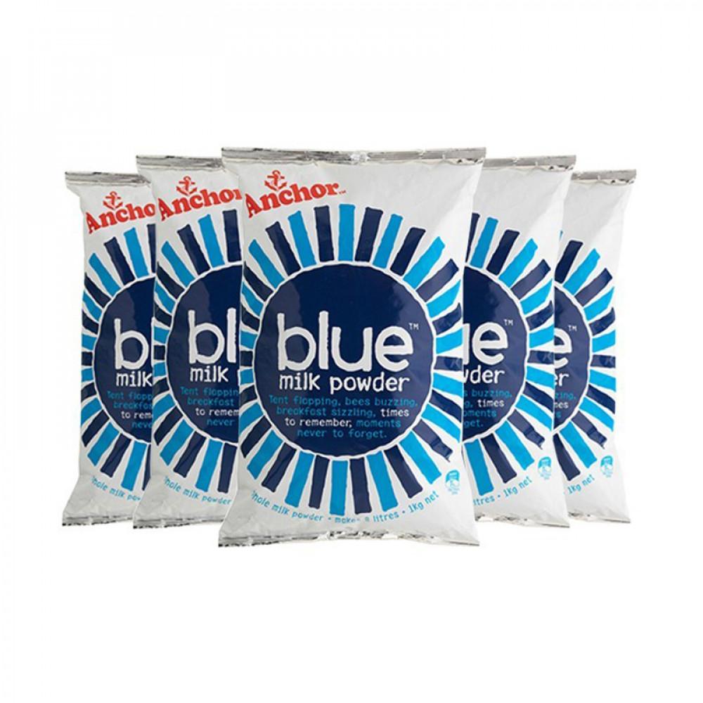 Anchor安佳袋装全脂奶粉1kg/袋 六袋包邮 新西兰过百年历史最大乳业品牌 三岁以上适用 Blue